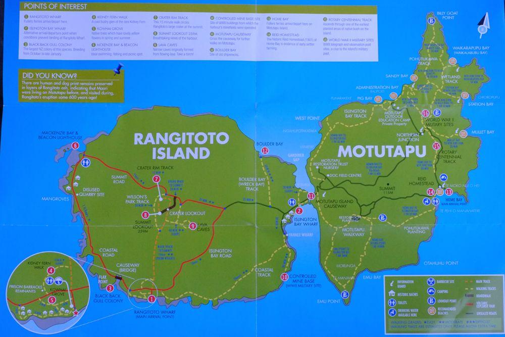 Mapa wysp Rongitoto i Motutapu