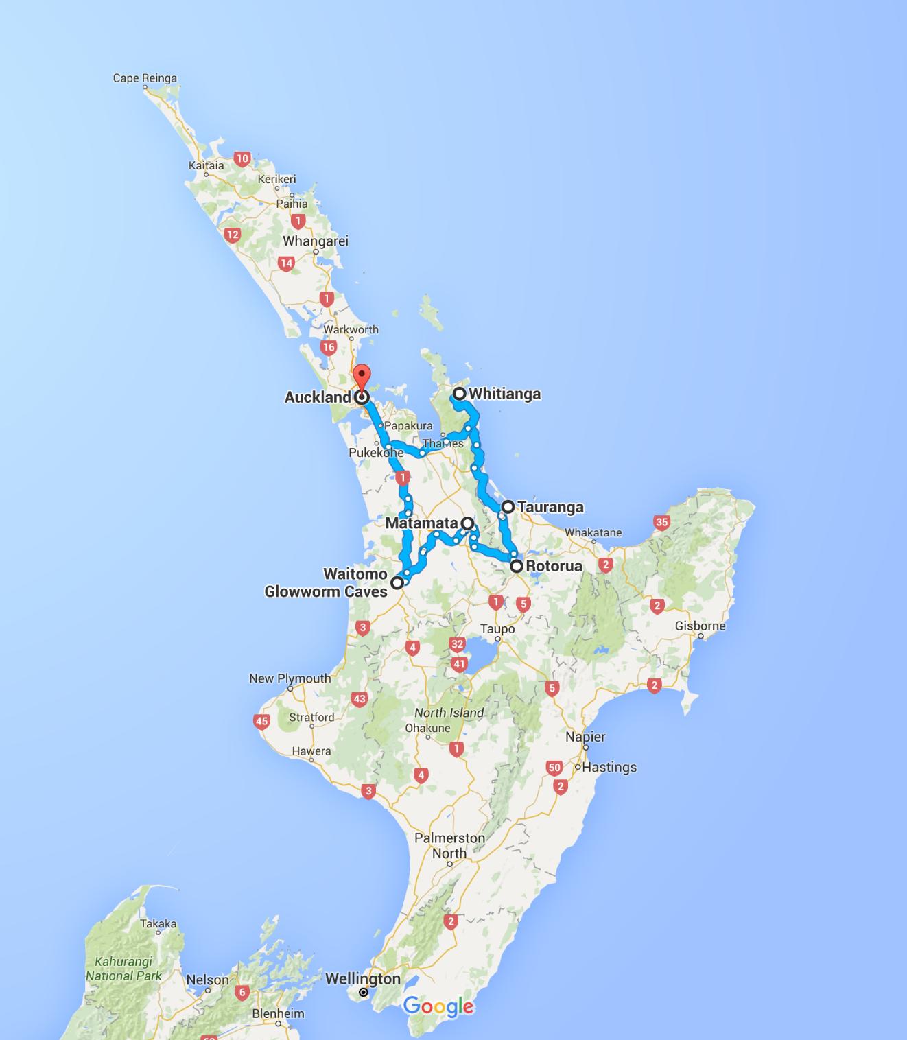 Trasa - Wyspa Północna